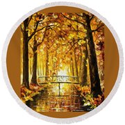 Long Before Winter - Palette Knife Oil Painting On Canvas By Leonid Afremov Round Beach Towel