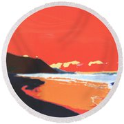 Long Blue Beach Round Beach Towel