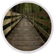 Long Boardwalk Through The Wetlands Round Beach Towel