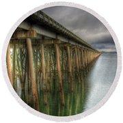Long Bridge  Round Beach Towel