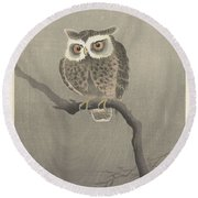 Long-eared Owl On Bare Tree Branch, Ohara Koson, 1900 - 1930 Round Beach Towel