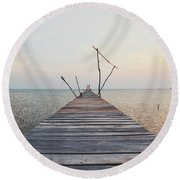 Long, Empty And Old Wooden Dock Over The Water At Sunset Round Beach Towel