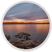 Long Expo Over Connecticut Lake Round Beach Towel