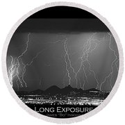 Long Exposure - Bw Poster Round Beach Towel
