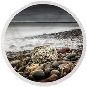 Long Exposure At Lawrencetown Beach, Nova Scotia Round Beach Towel