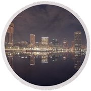 Long Exposure Of The Colorful Baltimore Skyline Round Beach Towel