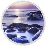 Long Exposure Sea And Rocks In Estonia Baltic Sea Round Beach Towel