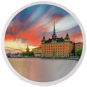 Long Exposure Stockholm Sunset Round Beach Towel