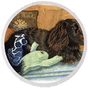 Long-haired Dachshund Watercolor Round Beach Towel