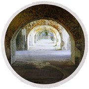 Long Hall At Fort Pickens Round Beach Towel