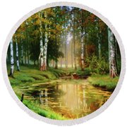 Long Indian Summer In The Woods Round Beach Towel
