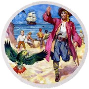 Long John Silver And His Parrot Round Beach Towel