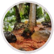 Long Journey Of A Tortoise Round Beach Towel