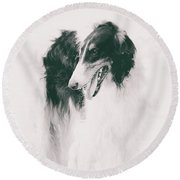 long-legged beauty Russian hound Round Beach Towel