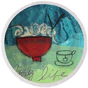 Long Life Noodles Round Beach Towel