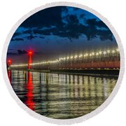 Long Lights At Grand Haven Pier Round Beach Towel