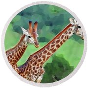 Long Necked Giraffes 2 Round Beach Towel