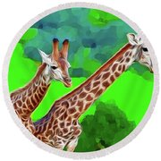 Long Necked Giraffes 3 Round Beach Towel