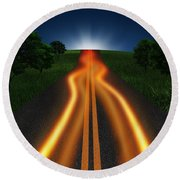 Long Road In Twilight Round Beach Towel