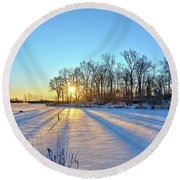Long Shadows Of Winter 2 Round Beach Towel