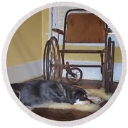Long Wait - Dog - Wheelchair Round Beach Towel