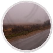 Long Way Home By Car In The Fog Round Beach Towel