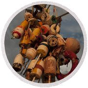 Long Wharf Buoys Round Beach Towel