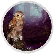 Long Whisker Owl Round Beach Towel