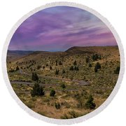Long Winding Road In Central Oregon Round Beach Towel