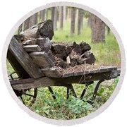 Long Winter Coming - Vintage Wheelbarrow - Casper Wyoming Round Beach Towel
