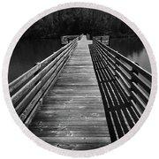 Long Wooden Bridge Round Beach Towel by Kelly Hazel