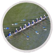 Longboat - Rowing On The Schuylkill River Round Beach Towel