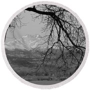 Longs Peak And Mt. Meeker The Twin Peaks Black And White Photo I Round Beach Towel by James BO  Insogna
