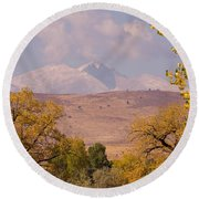 Longs Peak Diamond Autumn Shadow Round Beach Towel