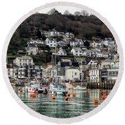 Looe Harbour - Cornwall Round Beach Towel