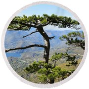 Look At The Pine Trees And The Lake Round Beach Towel