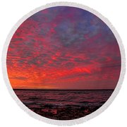 Looking Across At Sundown Round Beach Towel