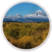 Looking Across Willow Flats To Mt Moran Round Beach Towel