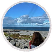 Looking At The Beautiful View Round Beach Towel