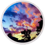 Looking At The Sunset Round Beach Towel