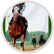 Looking Back, 1 1/2 Mile Belmont Stakes Secretariat 06/09/73 Time 2 24 - Painting Round Beach Towel