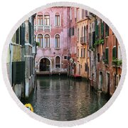 Looking Down A Venice Canal Round Beach Towel
