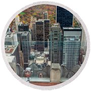 Looking Down At New York Central Park Surounded By Buildings Round Beach Towel