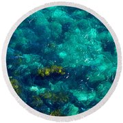 Looking Down At Shellow Water Round Beach Towel