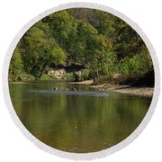 Looking Down Bryant Creek Round Beach Towel
