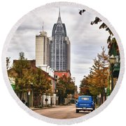 Looking Down Dauphin Street And The Blue Truck Round Beach Towel