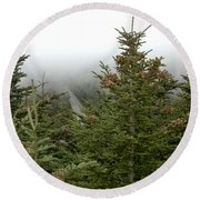 Looking Down From Mnt. Mitchell Round Beach Towel