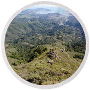Looking Down From The Top Of Mount Tamalpais 2 Round Beach Towel