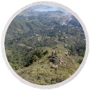 Looking Down From The Top Of Mount Tamalpais Round Beach Towel