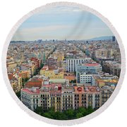Looking Down On Barcelona From The Sagrada Familia Round Beach Towel